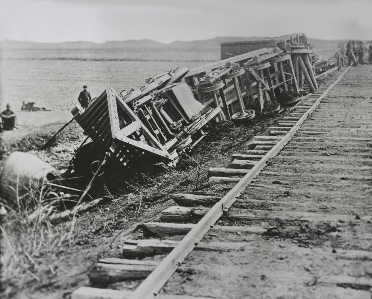Derailed Train during American Civil War, Manassas, Virginia, USA, by Andrew J. Russell, early 1860's.