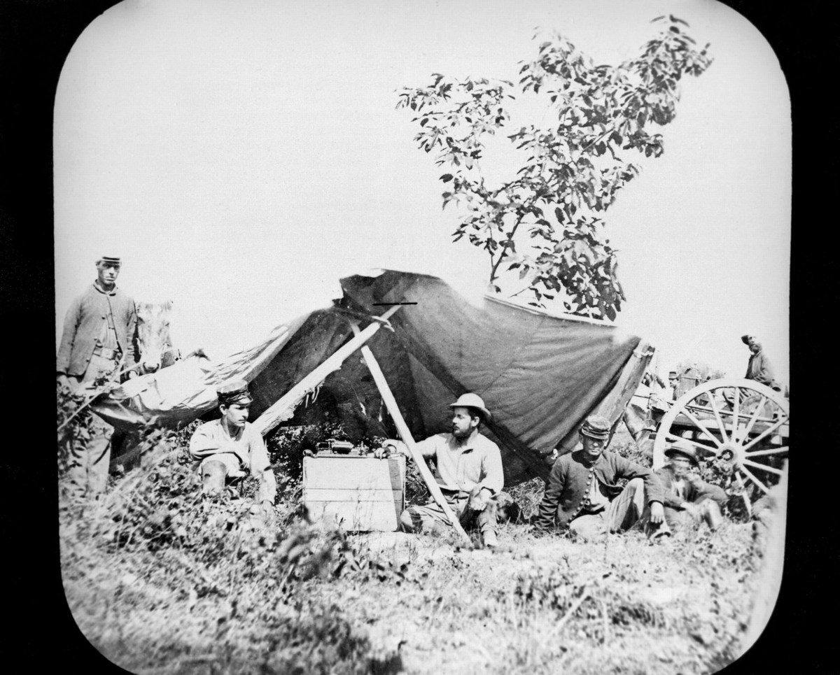 One of General Grant's Unionist (northern) Field Telegraph stations during the American Civil War 1861-1865 Photograph.