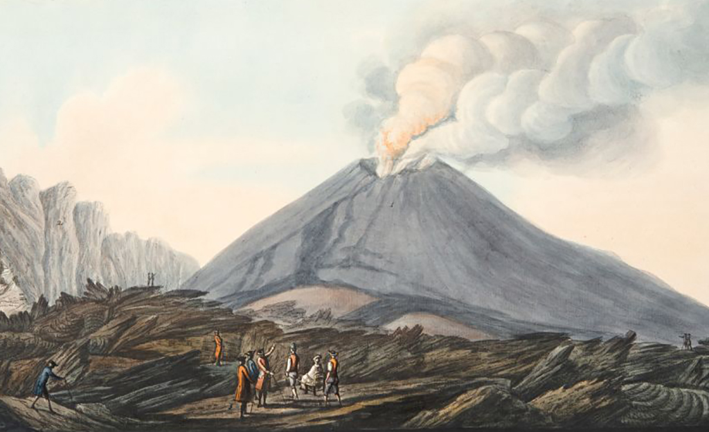 People looking at Mount Vesuvius