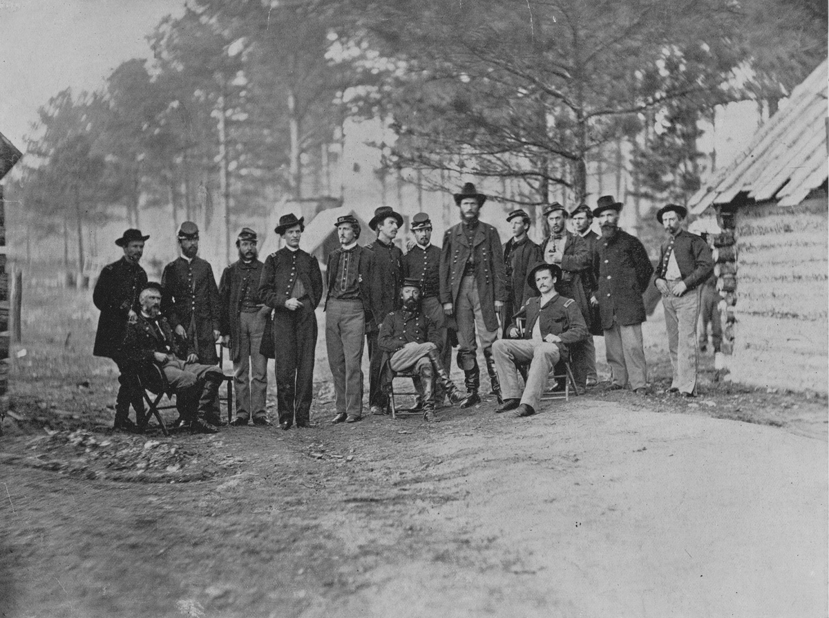 Union Major General Godfrey (Gottfried) Weitzel and the staff of XVIII Corps Army of the James after the capture of Fort Harrison on 5 October 1864 during the Fort Harrison Campaign of the American Civil War at Fort Harrison, Virginia, United States.