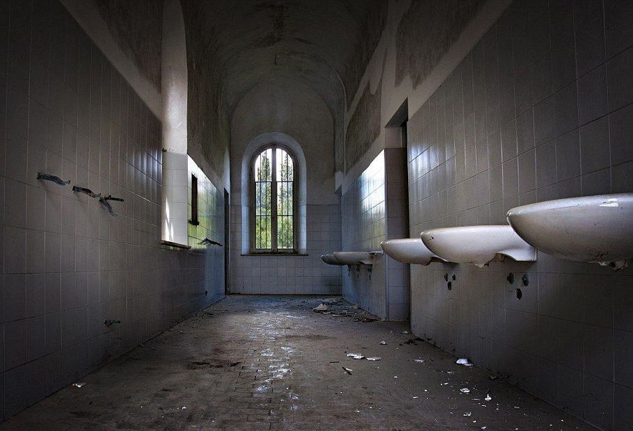 Bathroom of the Ospedale Psichiatrico di Volterra, which used to house over 6,000 patients.