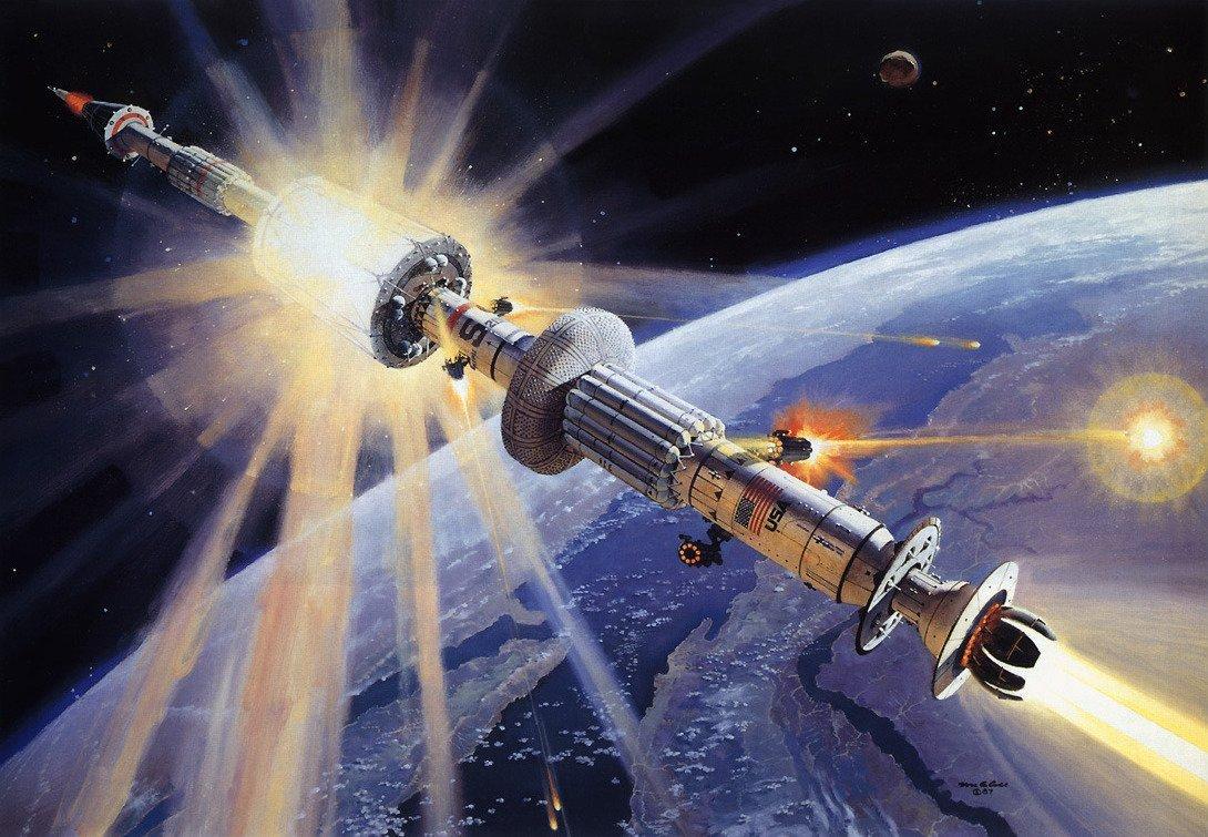 Artistic depiction of the United States Strategic Defense Initiative