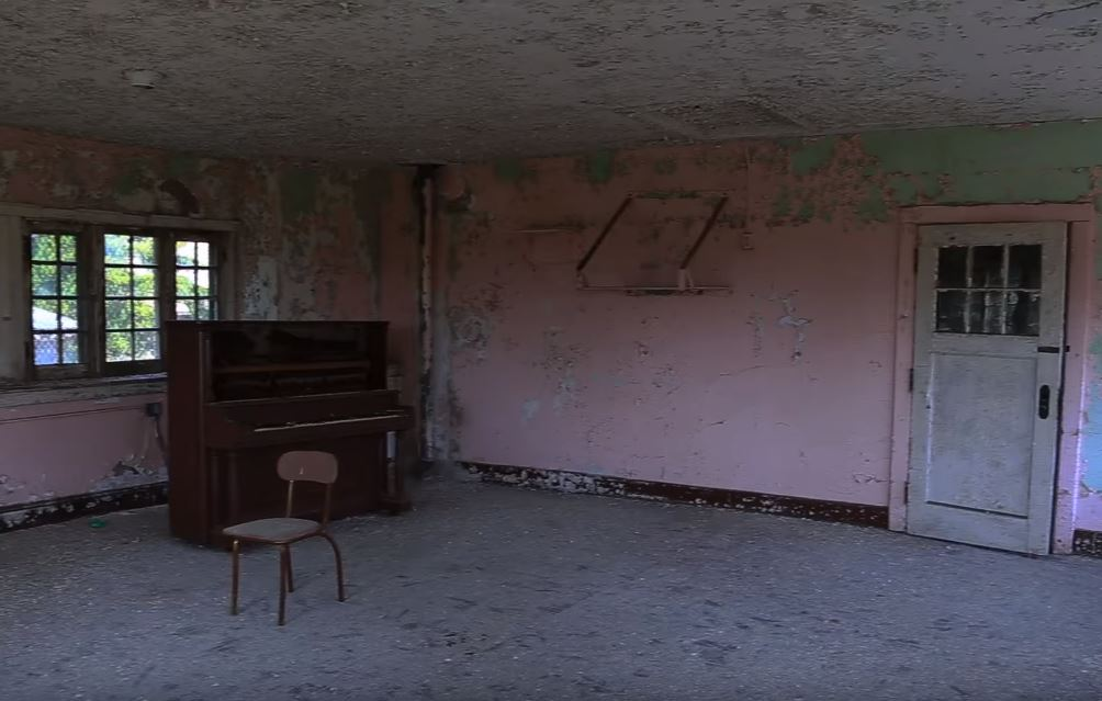 Leftover piano in the abandoned Trenton Mental Hospital, America's first Kirkbride design hospital