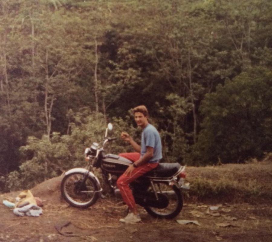guy biking around indonesia