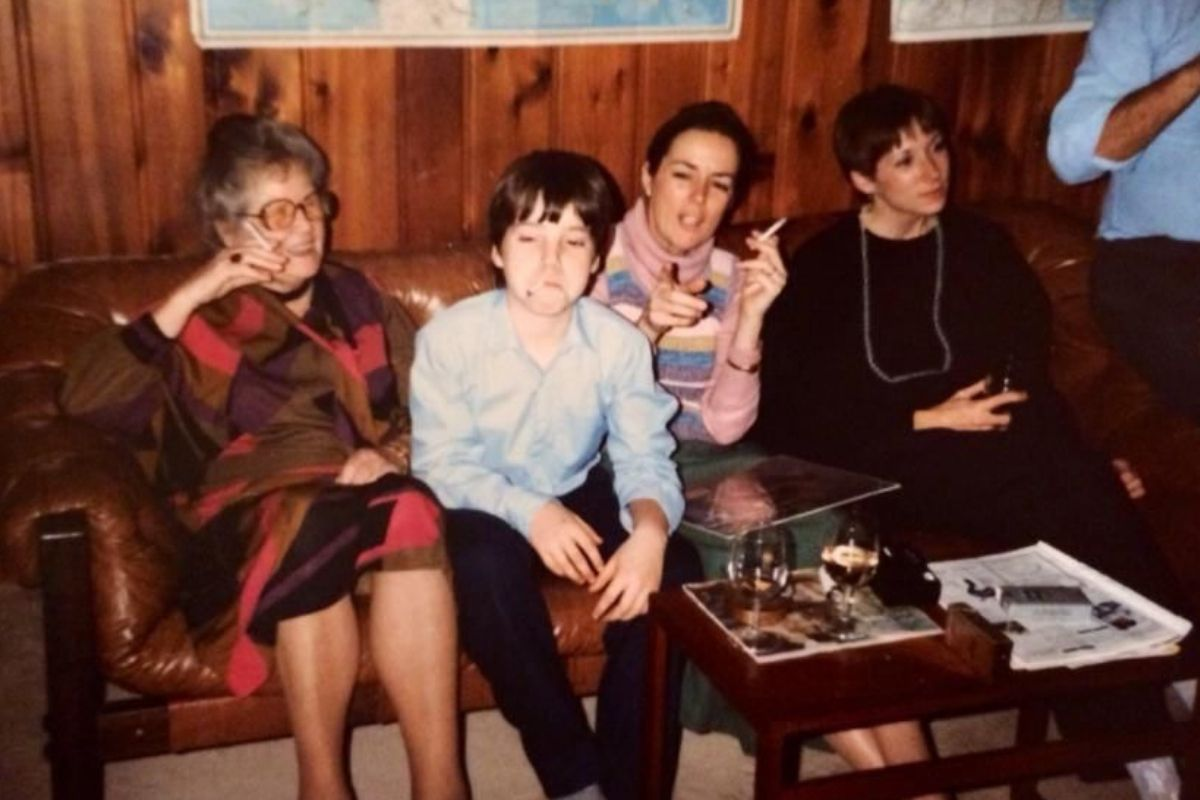 party kid smoking with family