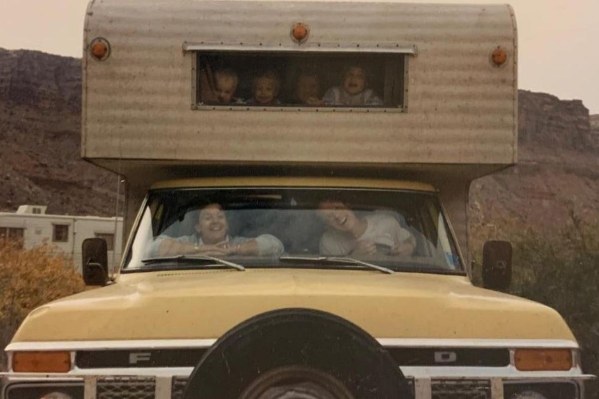 kids and parents in a winnebago