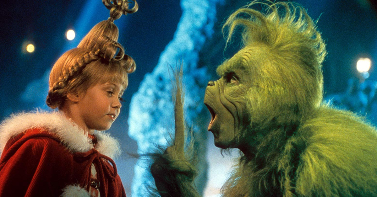 taylor momsen and jim carrey in costume for how the grinch stole christmas