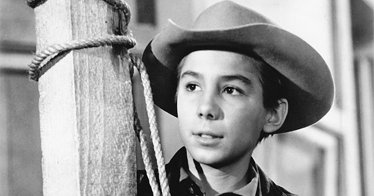 johnny crawford black and white portrait in cowboy hat