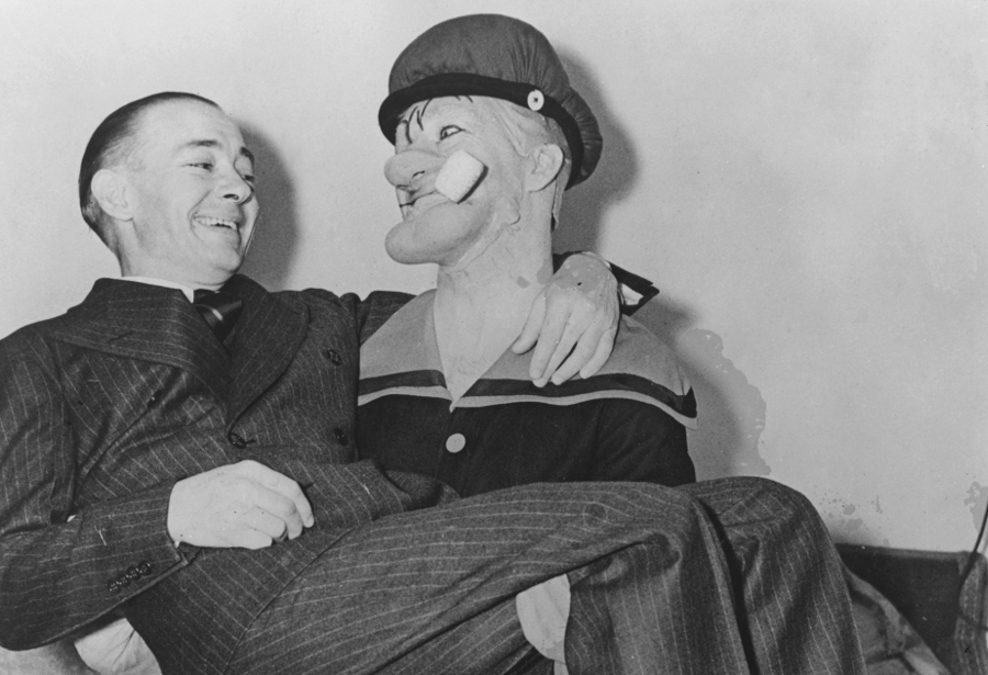 popeye's creator with a costumed sailor