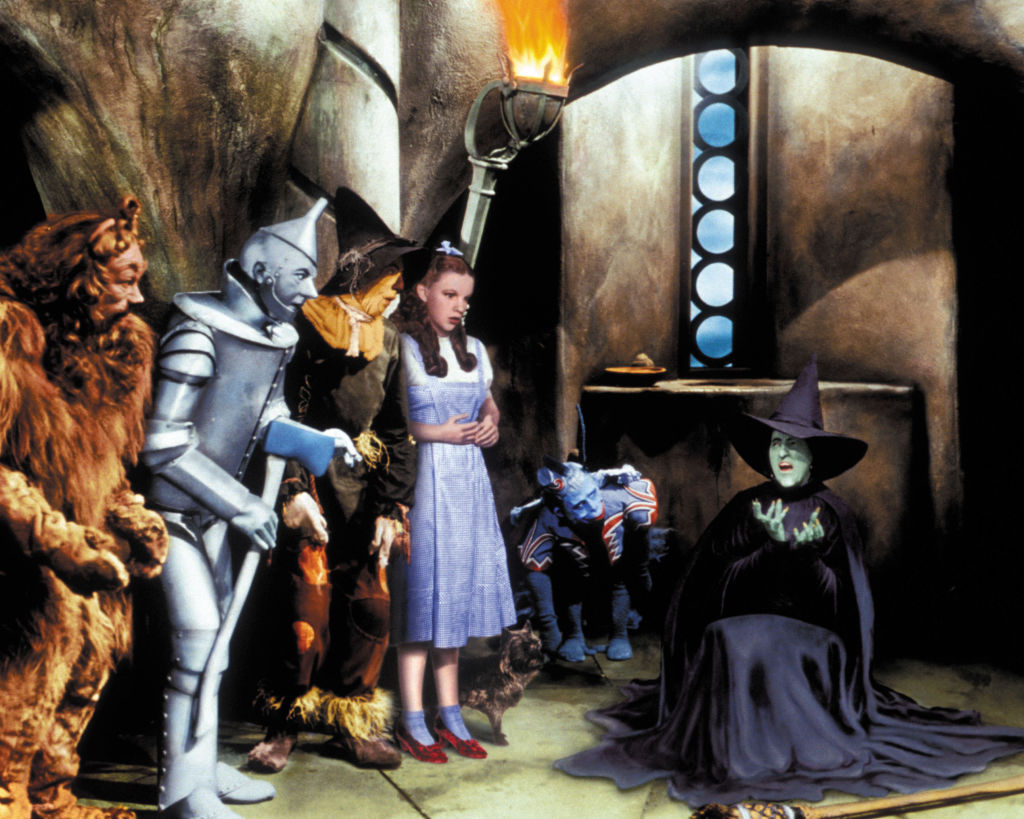 the lion, tin man, scarecrow, dorothy, a monkey, and the wicked witch in the wizard of oz