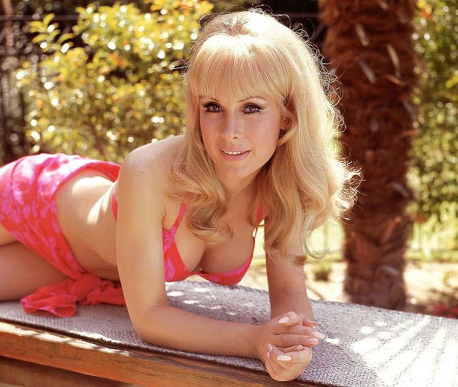 Barbara Eden modeling in a hot pink bathing suit