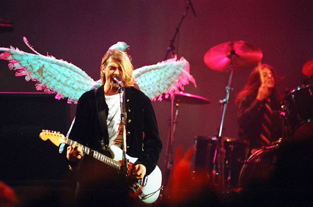 Cobain with wings behind him