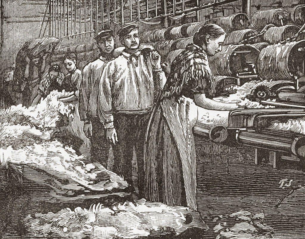 A late 19th century sketch shows male and female workers at a mill