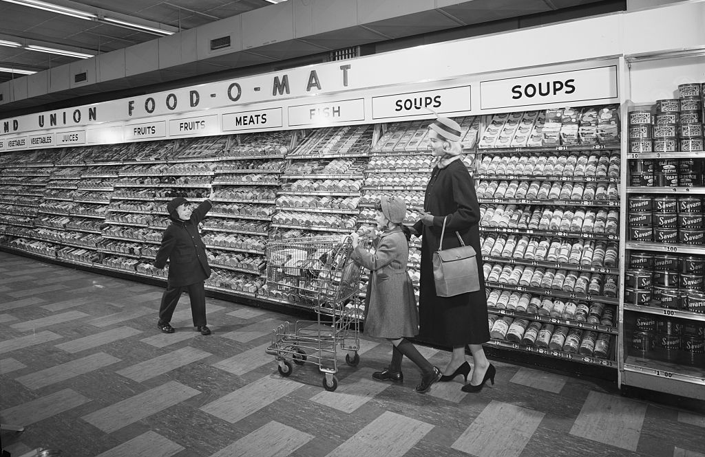 Mother with children in supermarket