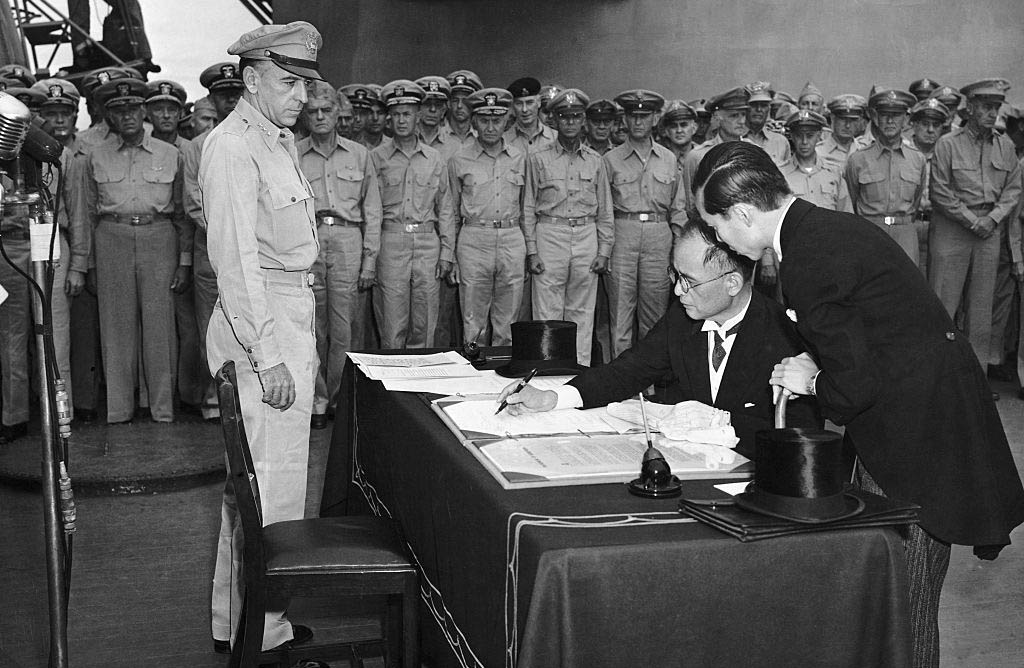 Signing the surrender document