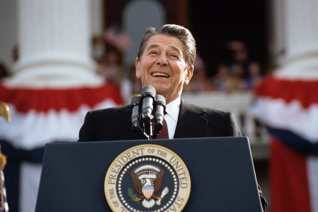 President Reagan giving a speech