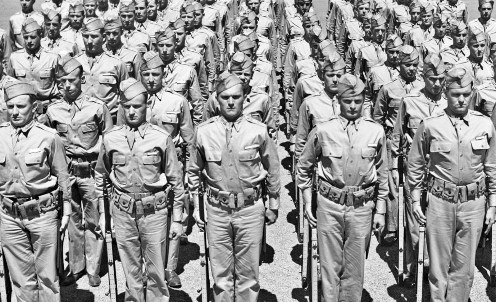 Rows of American WWII soldiers