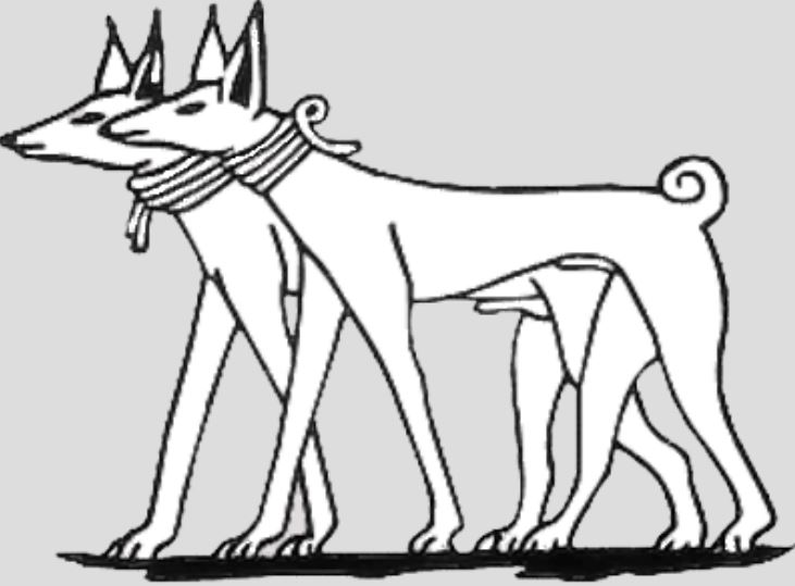 Depiction of Ancient Egyptian hunting dog breed, Tesem