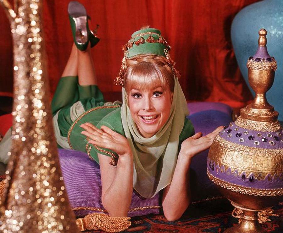 Barbara Eden in a green Jeannie outfit
