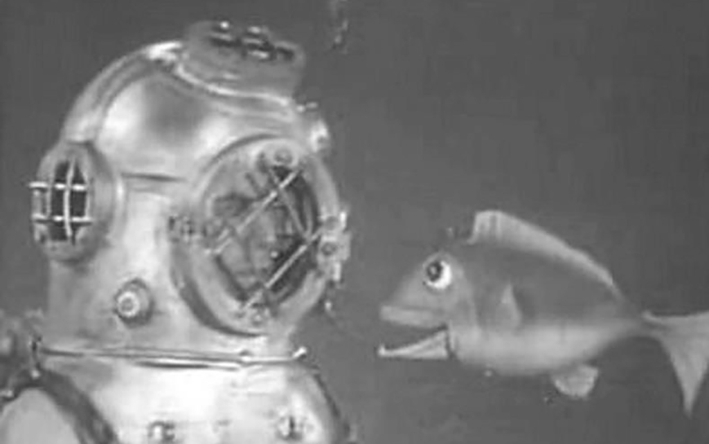 Dan talking to a fish