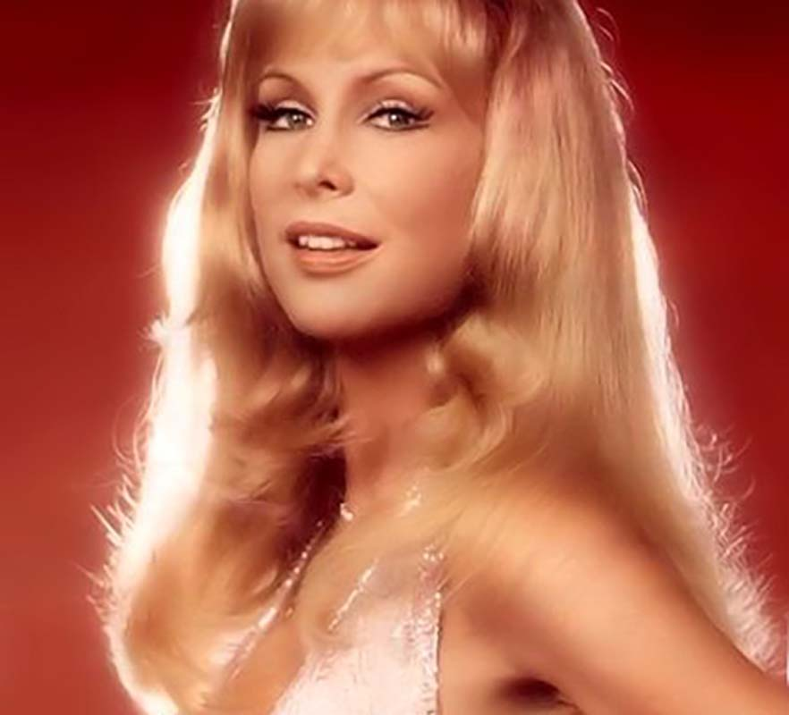 Barbara Eden in a pink Bob Mackie dress