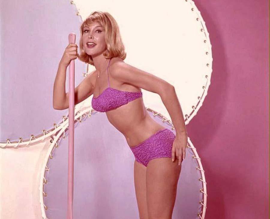 Barbara Eden in a pink bikini
