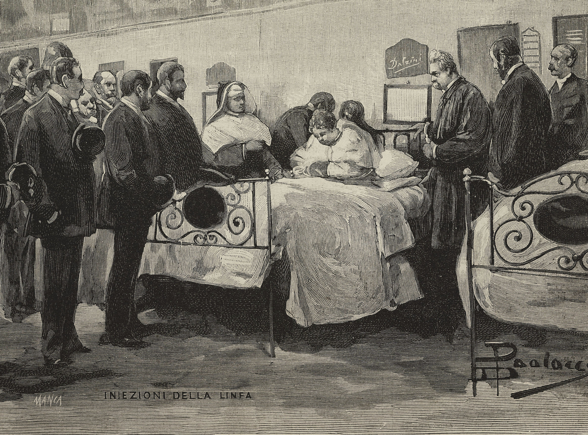 Experiments using Robert Koch's lymph method being done by Dr Baccelli on a tuberculosis patient at the Santo Spirito hospital, Rome, Italy, engraving by Manza from a drawing by Dante Paolocci, 1890