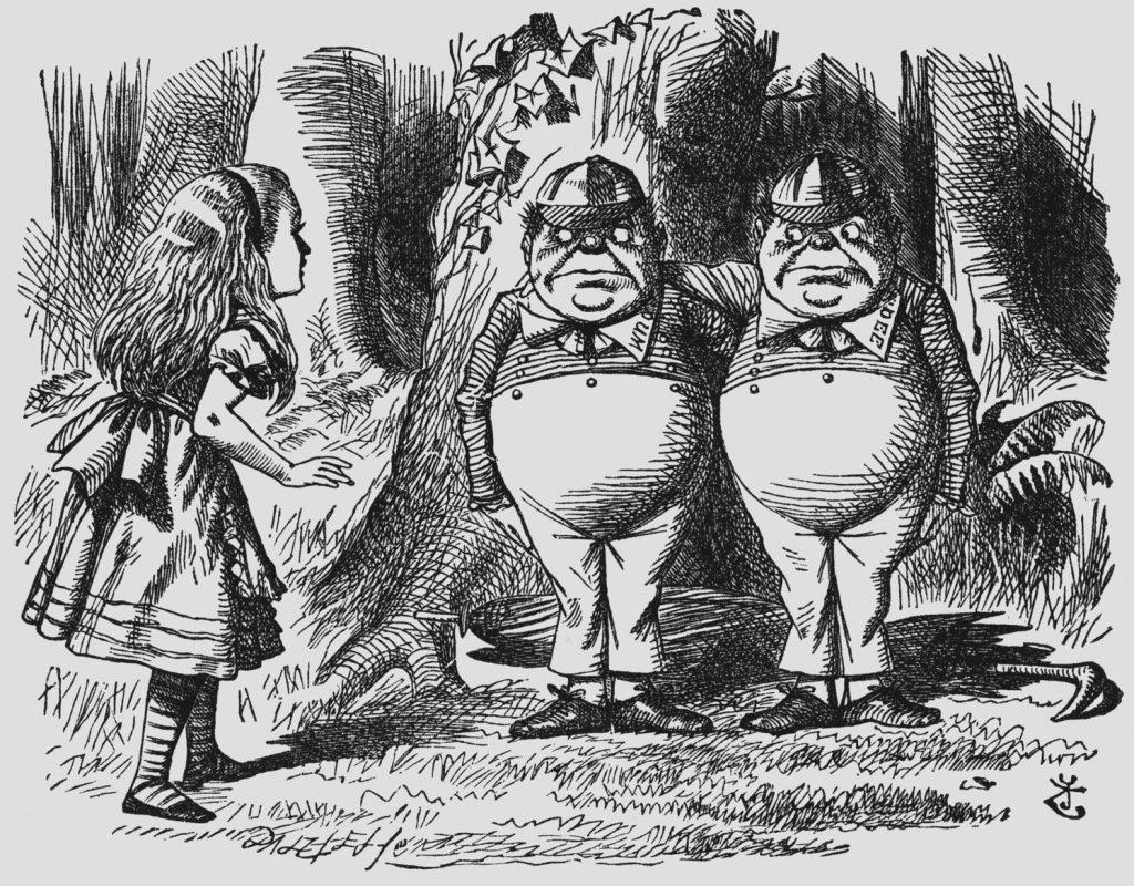 Tweedle Dee and Tweele Dum are drawn meeting Alice