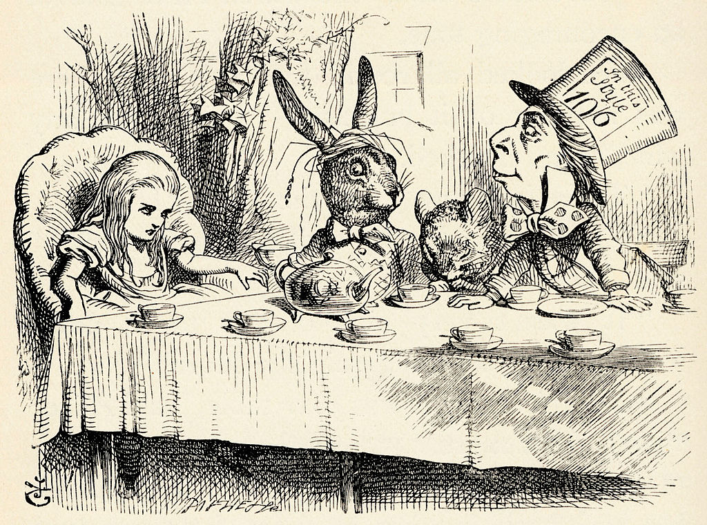 Alice, the Mad Hatter, and the March Hare sit around the table in a sketch from the original book