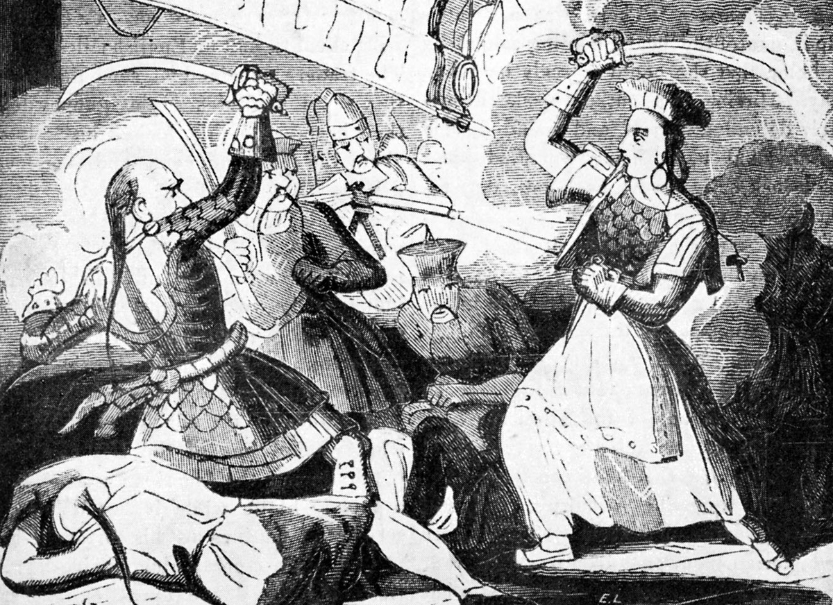 Artwork displays pirate Mrs. Ching fighting an Admiral