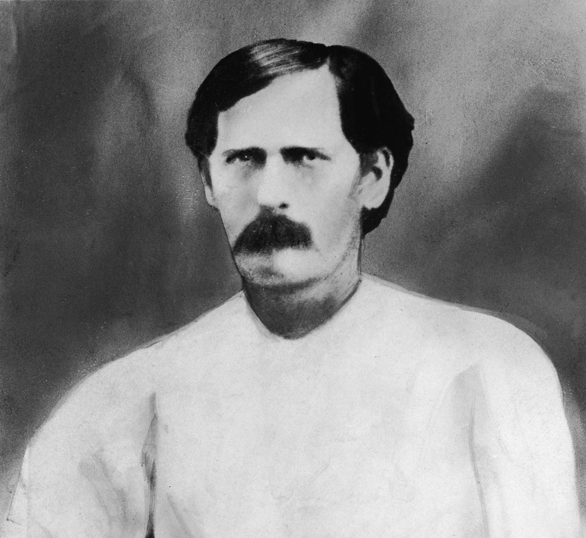 A portrait of American lawman and gun fighter Wyatt Earp, circa 1873.