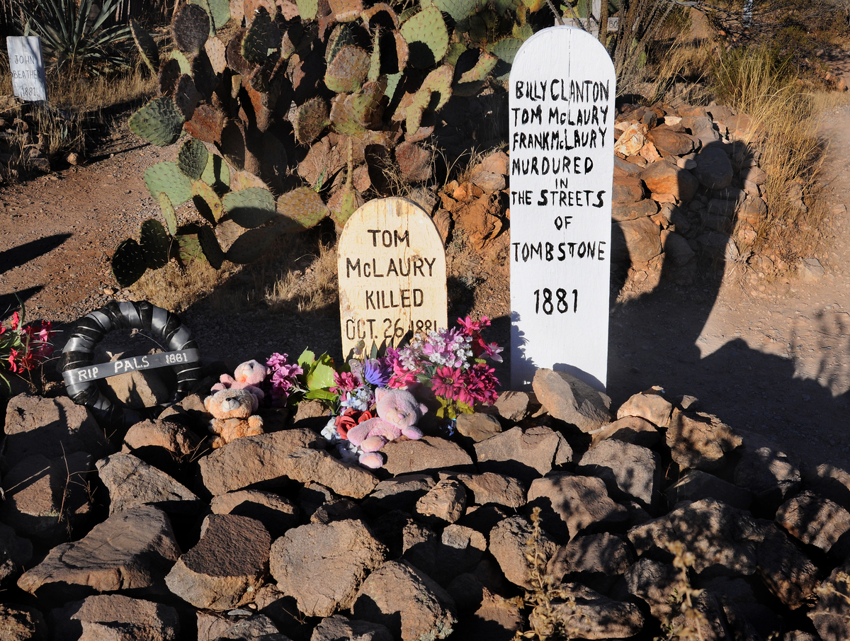 The graves of the three men who were killed in the famed 'Gunfight at the O.K. Corral' in 1881 is an attraction at the historic Boothill Graveyard, Tombstone, AZ