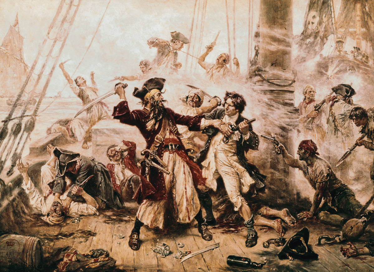This painting depicts a soldier battling the pirate, Blackbeard