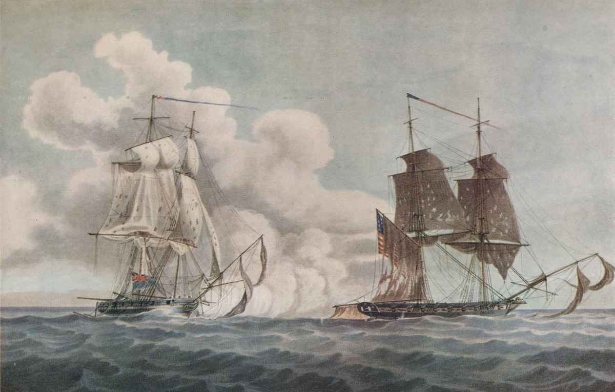 Painting of privateer ships by Charles Robinson, 1819