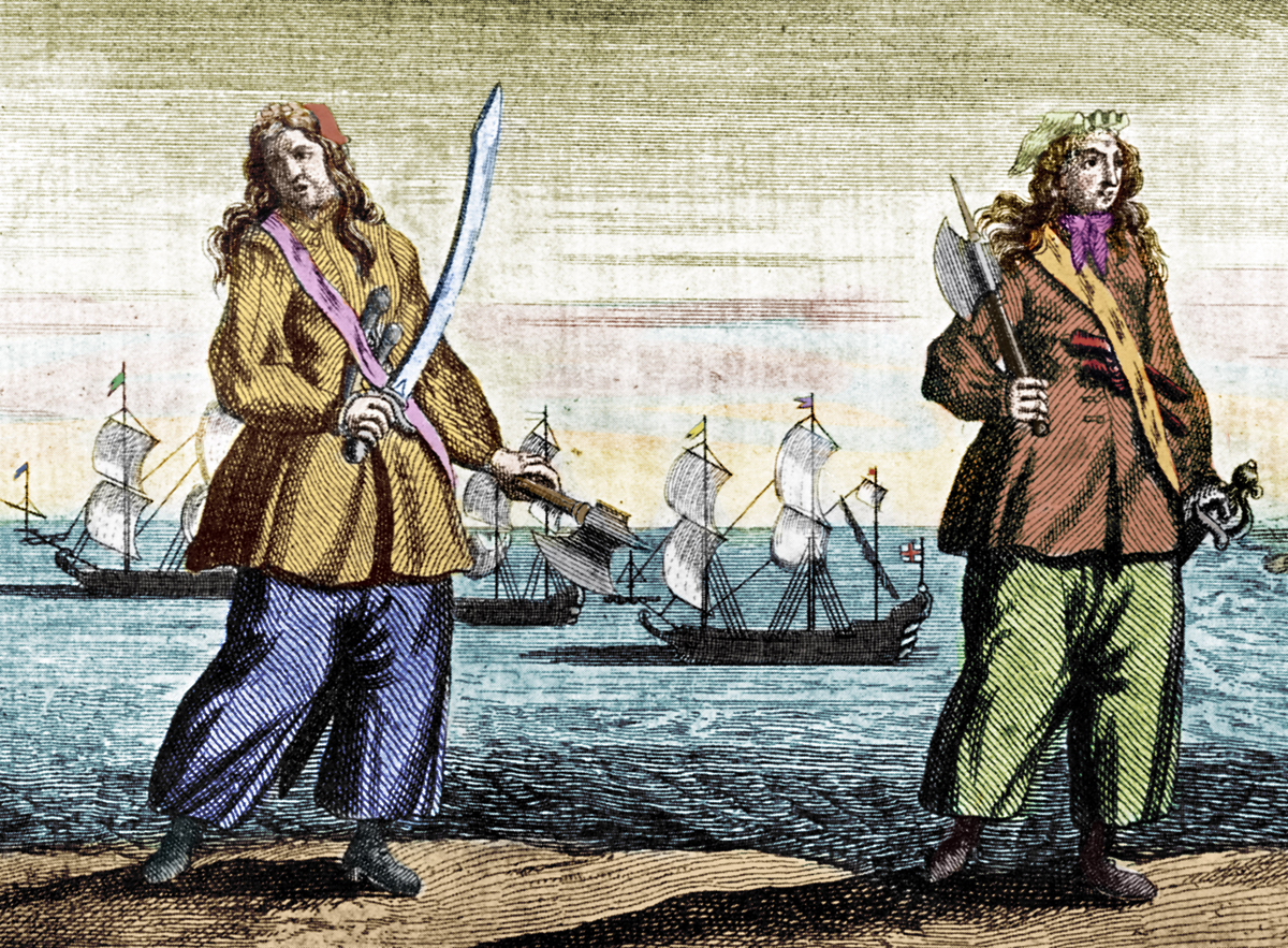 Anne Bonny and Mary Read are portrayed on an engraving by B Cole.