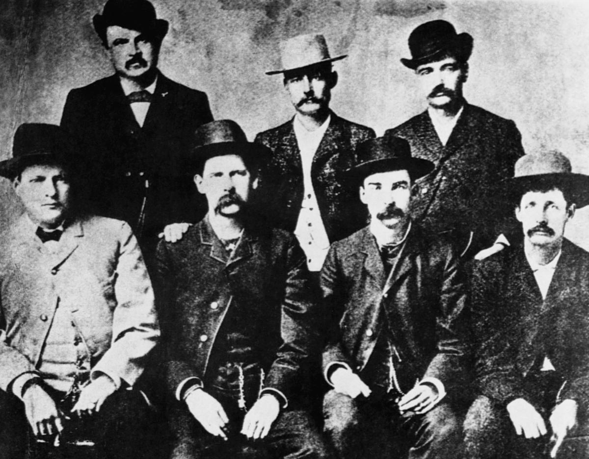 Dodge City, Kansas Peace Commissioners (L to R): Charles Bassett, W. H. Harris, Wyatt Earp, Luke Short, L. McLean, Bat Masterson, Neal Brown, ca. 1890.