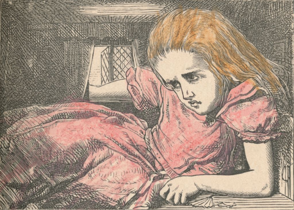 A sketch from the original book shows Alice cramped in a tiny room