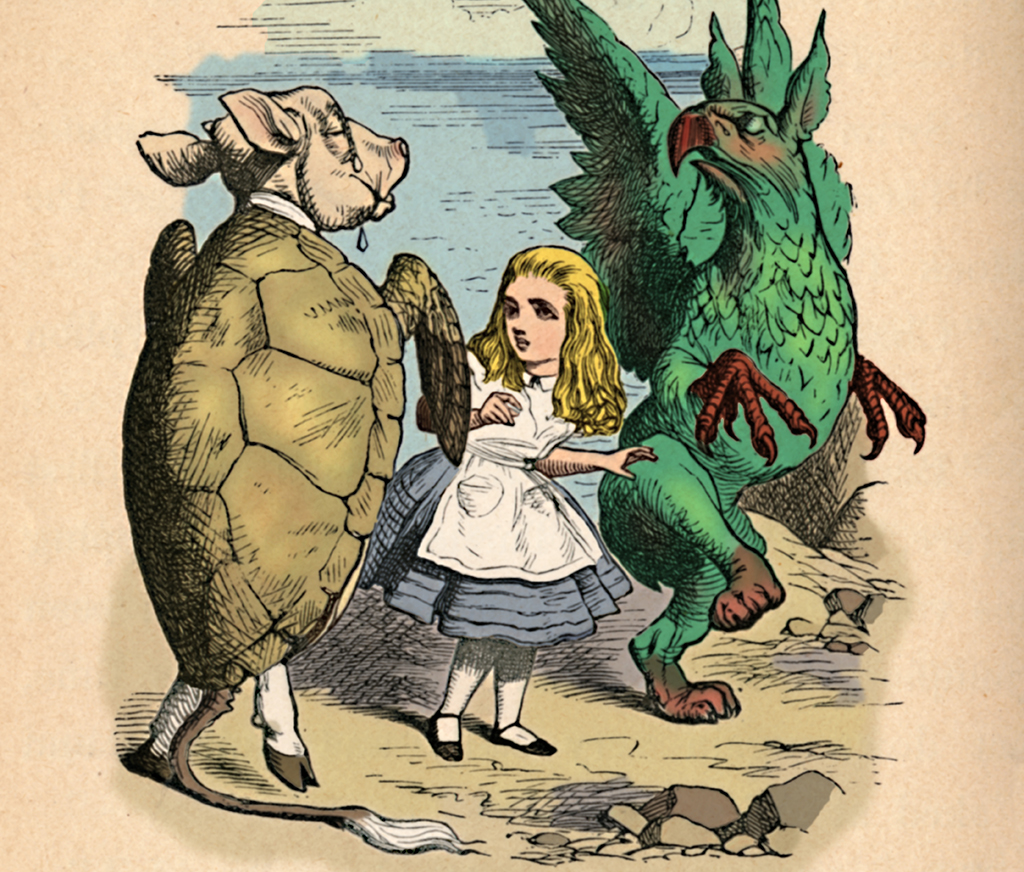 A sketch from the original story shows Alice looking at mock turtle, a turtle and calf mix
