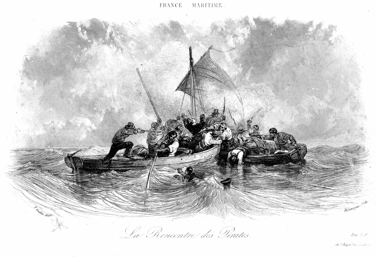 Pirate battle is depicted in an 1800 engraving