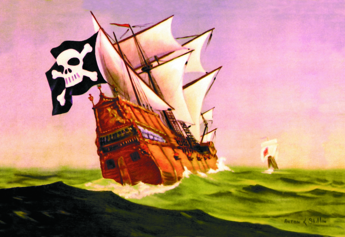 This painting depicts a pirate ship chasing a merchant ship