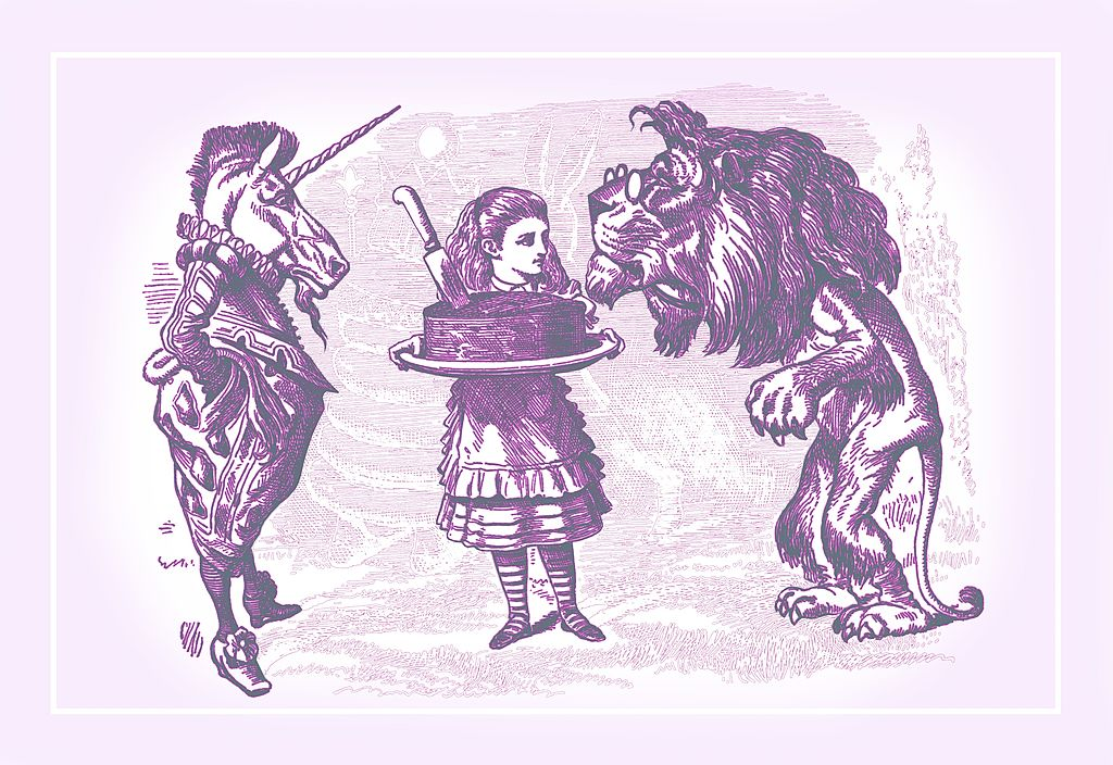 A sketch shows Alice holding a cake that a lion smells while a unicorn watches