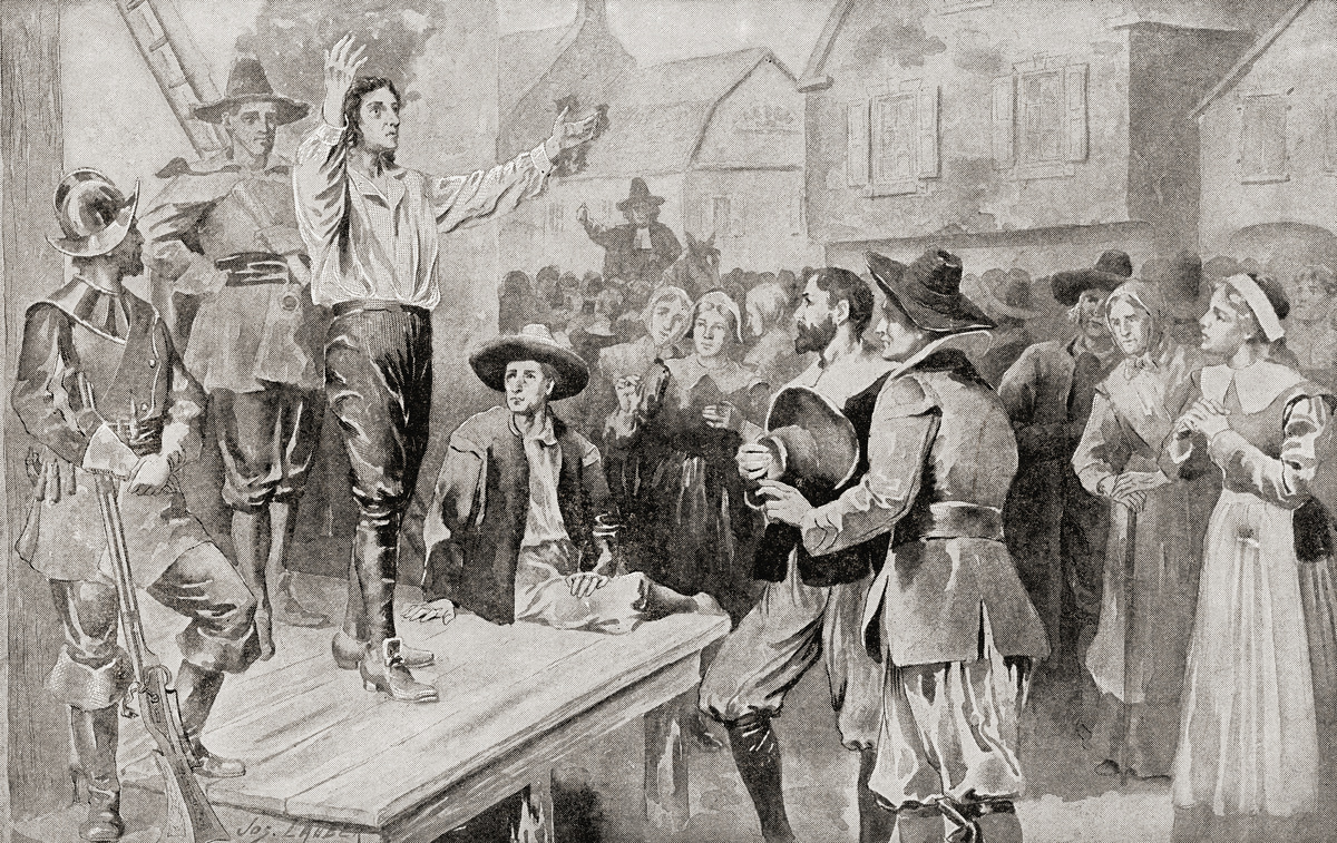 George Burroughs reciting the Lord's Prayer before his execution at Witches Hill, Salem, Massachusetts