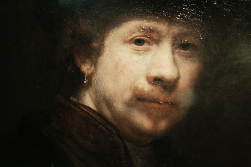 Photo shows a detail from a portrait in the exhibition of Dutch artist Rembrandt van Rijn