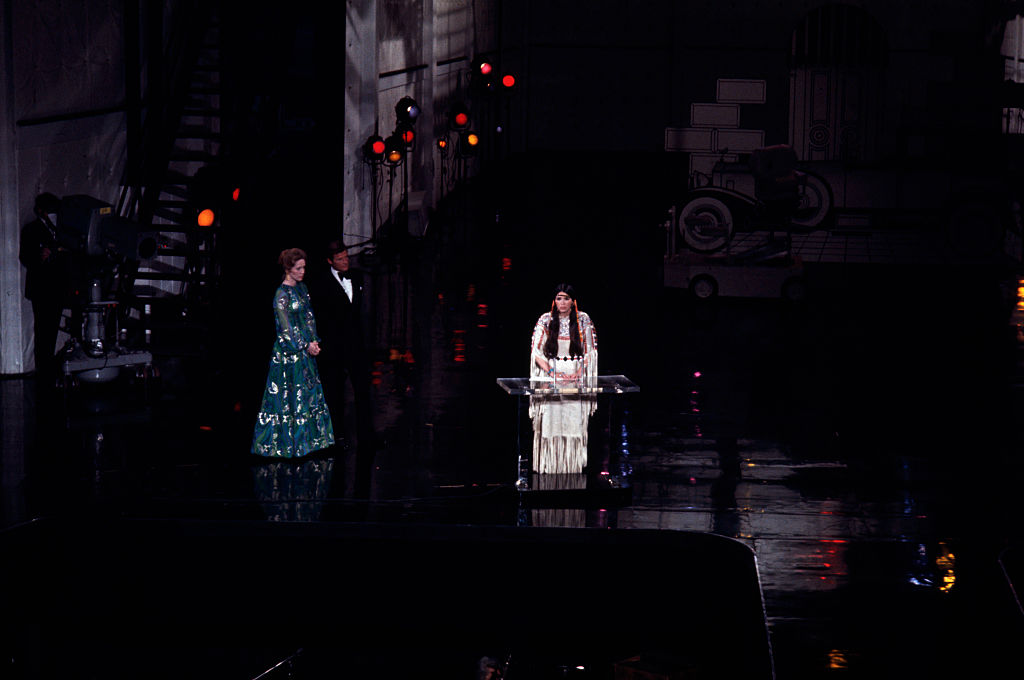 Sacheen Littlefeather accepting the oscar on behalf of marlon brando for the godfather