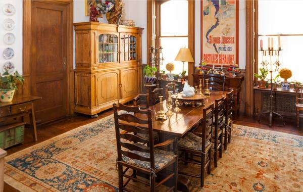 lauren bacalls dining room with french-inspired design