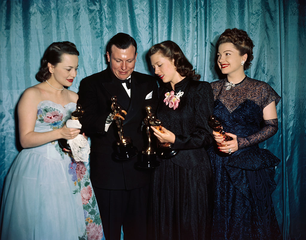 Left to right: Olivia De Haviland, Harold Russell, Cathy O'Donnell and Ann Baxter are shown at the Academy Awards