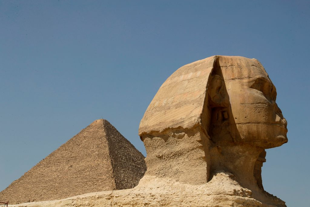 a view of the Great Pyramid of Khufu