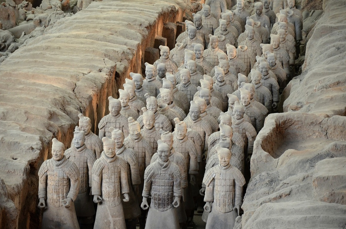 terracotta army statues unearthed in 1974 in China