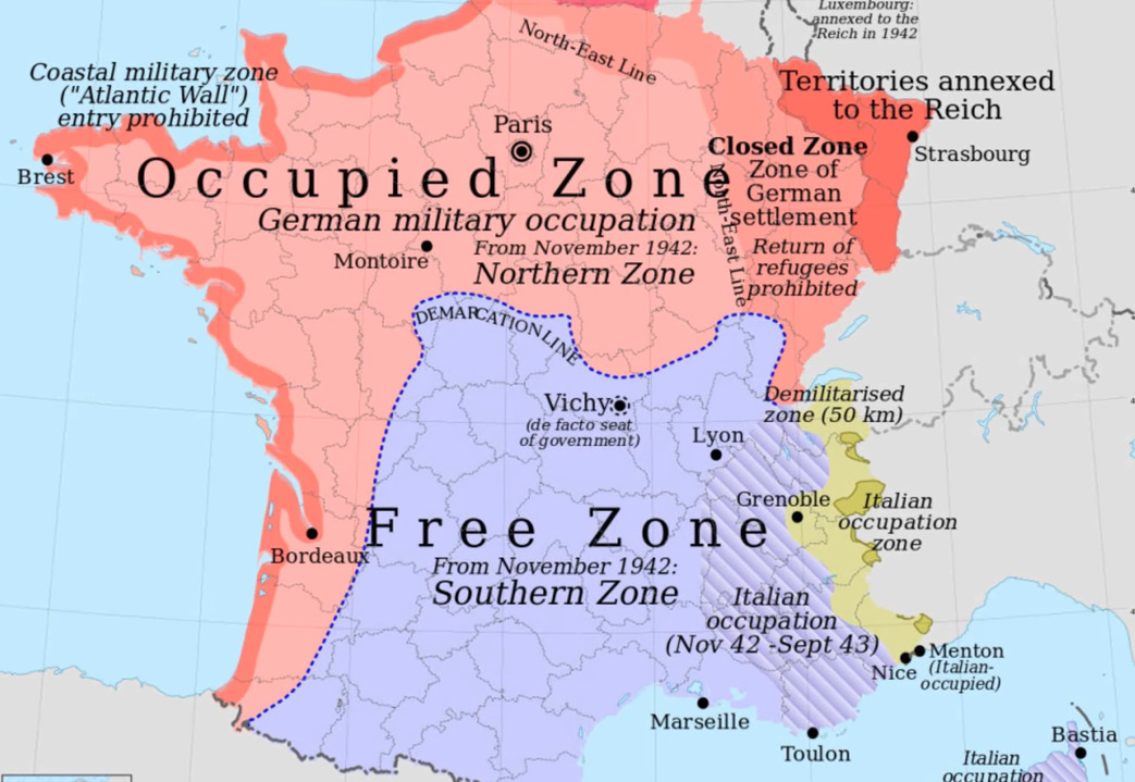 A map shows the occupied zone of Paris during WWII.