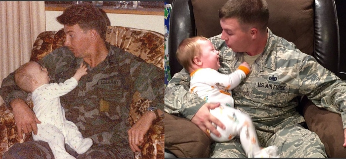 military dads and babies sitting in chair